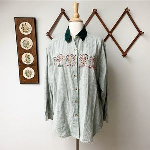 Embroidered Tree Life Cycle Button Down Shirt